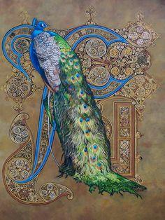 •❈• Majestic Splendour *Astrid Bruning - Peacock Art Nouveau...  Visit astridbruning.deviantart.com