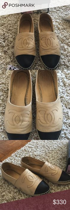 Chanel Black Tan leather--sold on TRADESY Chanel Black and Tan espadrilles! These are worn but still have a lot of life left! I had my shoe person add a rubber sole to avoid wearing them down to the espadrille material CHANEL Shoes Espadrilles