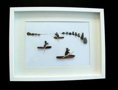 PISCES - Pebble art - kayakers, image 30 x 40 framed by naturalblack on Etsy https://www.etsy.com/listing/533524837/pisces-pebble-art-kayakers-image-30-x-40