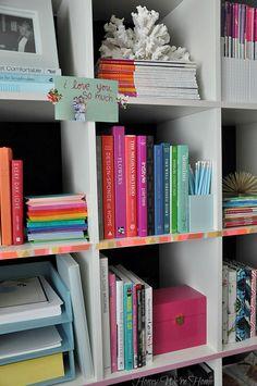 Washi Tape Bookshelf  hmmm ok heres an idea, on the edges of a bookshelf to match a room!