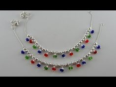 NEW Multi Color Crystal Anklets // Stunning Beaded Silver Anklets - YouTube