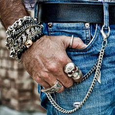 INTEGRATED DAY OF THE DEAD SKULL Sterling Silver Curb Link Bracelet by King Baby | Tribal Hollywood