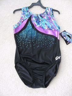 NWT GK Elite Purple Teal Foil Splatter Black Gymnastics Leotard Adult Large AL #GKElite