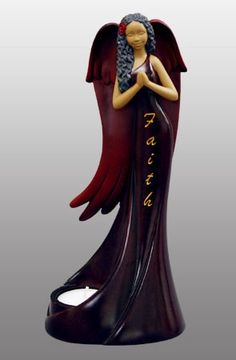 Tea Light Angel - Faith in burgundy - figurine
