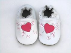 Guaranteed 100% soft soled Genuine Leather baby shoes /Deep pink Heart