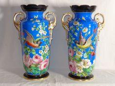 Outstanding Momumental OLD PARIS Pair of Vases HP Bird & Floral Design