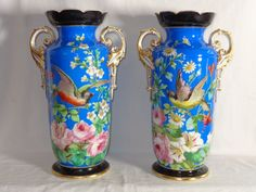 Outstanding Momumental OLD PARIS Pair of Vases HP Bird & Floral Design