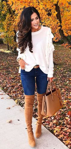 #winter #outfits  white crew-neck ruffled long-sleeved shirt