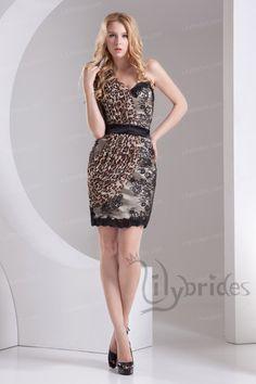 Sheath/Column One-shoulder Satin Lace Chiffon Mini/Short Length Cocktail Dress