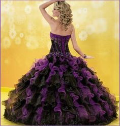black+and+purple+wedding+dresses | 189PrincessPurpleBlackOrganzaStraplessBallGownBridalGownQuinceaneraDre ...