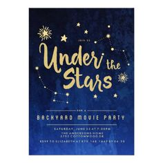 Under the Stars Backyard MOVIE Party Invitation