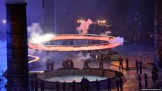 "A freshly ""forged"" Olympic Ring flies during The Age of Industry scene #Olympics #openingceremony #London2012"