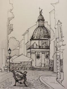 Maria Apriatova. Lviv 2, 2013. Pen, pencil, paper, A4 #A4 #Apriatova #Lviv #Maria #Paper #Pen #Pencil Architecture Drawing Sketchbooks, Watercolor Architecture, Landscape Sketch, Landscape Drawings, City Drawing, Painting & Drawing, Pencil Art Drawings, Art Sketches, Amazing Drawings