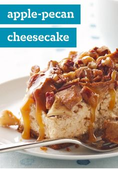 Apple-Pecan Cheesecake -- Imagine a cheesecake dessert topped with a scrumptious mashup of pecan pie and apple pie--sweet with brown sugar, fragrant with cinnamon. Like the idea? Try this recipe.