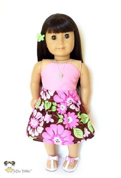 AG Doll Clothes  Flare Skirt Floral Pink Green by JoDeePetites