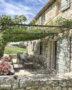Charming stone exterior of a farmhouse in France - photo by Vivi et Margot. Charming stone exterior of a farmhouse in France - photo by Vivi et Margot. Farmhouse Style Bedrooms, French Country Farmhouse, French Country Living Room, Farmhouse Garden, Garden Cottage, French Country Style, French Country Decorating, Stone Houses, Outdoor Rooms