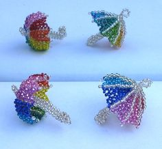 2 Rainbow Beaded Umbrellas Pattern by Katherina Kostinsky at Sova-Enterprises.com