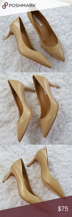 Diane von Furstenberg Nude Pumps Size 9.5 A closet staple! Almost new, the only signs of wear is to the soles, some light crinkling of the leather, and the sticker residue and markings on the bottom I tried I remove. Excellent condition, truest color is in the second photo, and slightly less saturated, so color may vary slightly in person. Size 9.5 medium. 3 inch heel. Diane Von Furstenberg Shoes Heels