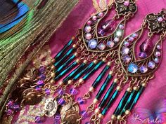 Teal Green & Pink Beaded Chandelier Coin Earrings East Indian #tealgreen #indianearrings #colorfuljewelry #sparklyjewelry