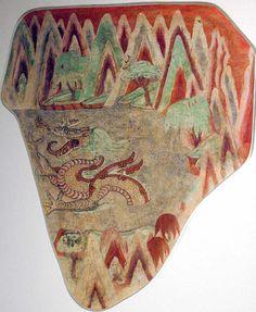 Dragon in a lake - Bezeklik, Cave 19. 14C date: 1024-1155. Wall painting. 66 x 56 cm. MIK III 8383 Pub.: AASR, no. 84, p. 149; IFB, no. 73, p. 267; MIAB, p. 99