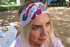 White red cotton headband, Boho Hippie beach headband, Festival woman bandana, elastic head, Floral summer headband, modern retro recycle
