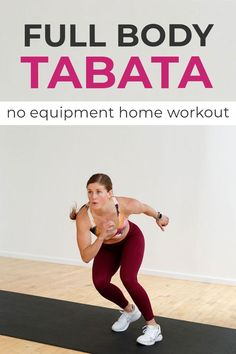 """No equipment needed for this fast-paced, bodyweight TABATA WORKOUT! 4 Tabata exercises, with options for high impact HIIT Tabata intervals or low impact Tabata exercises. A true Tabata workout is 20-second intervals of work, followed by 10 seconds of rest; repeated x 8 rounds (for a total of 4 minutes of Tabata training per exercise). The short bursts of HIIT to really raise your heart rate, with limited rest. Which is why Tabata workouts have been named the """"4-minute, fat-burning workout."""""""