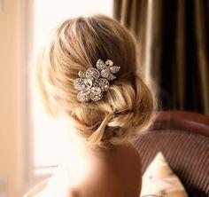 Large Crystal Flower Headpiece Bridal Wedding by FleursdeParis