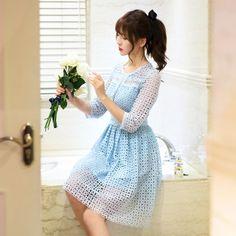 Japanese Fashion -  Stitching hollow sleeve lace dress