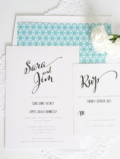 Wedding invitations with Large Script