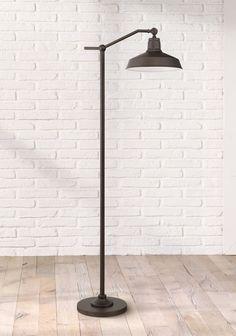Kayne Modern Downbridge Floor Lamp Satin Bronze Metal Shade Step Switch for Living Room Reading Bedroom Office - 360 Lighting Farmhouse Lighting, Floor Lamp, Lamp, Rustic Floor Lamps, Modern Farmhouse Floors, Floor Lamp Design, Rustic Lamps, Modern Lamp, Stylish Floor Lamp