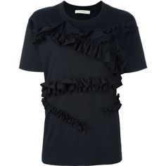 Cédric Charlier ruffled T-shirt (485 CAD) ❤ liked on Polyvore featuring tops, t-shirts, blue, ruffle t shirt, blue tee, frilly tops, flutter-sleeve top and blue top