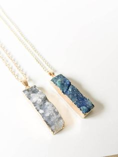 stellar crystal Druzy Bar Pendant in either grey or blue, handmade by Foundry and Co in New Zealand