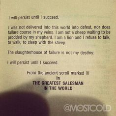 og mandino i will persist until i succeed - Google Search