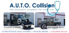 Not only do we provide collision repair service, we add sparkle and shine to any make or model! Check out this classic now ready for sale! Auto Collision, Collision Repair, Utah, Antique Cars, Classic Cars, Sparkle, Polish, Check, Model