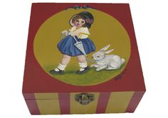 Victorian style wooden box - A girl with a rabbit. Wooden box. Hand painted  Available at www.romanticdecorativeart.co.uk