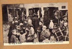 Wilna Postkarte I.Weltkrieg super Straßen Ansicht im Juden Viertel