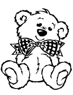 Teddy bear coloring page - make this large and cut out, laminate and put on lower half of our split door to greet toddlers first weeks of school!