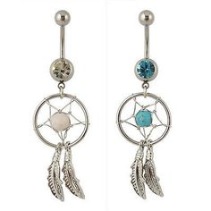 2pk DREAMCATCHER Silvertone White Turquoise Belly Rings – BodyBits