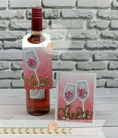 card & tag wine bottle tag, MFT botle tag Die-namics, MFT wine glass shaker and window Die-namics, MFT scripty cheers Die-namics Wine Bottle Tags, Wine Bottle Covers, Wine Tags, Wine Bottle Crafts, Beer Bottles, Pop Up, Marianne Design, Shaker Cards, Cool Cards