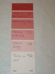 Use color swatch for anger management. I LOVE this to help some of my anger management clients track where they are. This could be used with other feelings too - blue for sadness. Counseling Activities, Group Counseling, Therapy Activities, Color Activities, Coping Skills Activities, Feelings Activities, Teaching Resources, Elementary School Counseling, School Social Work