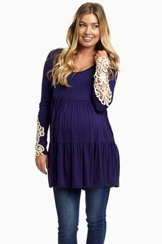 Navy-Layered-Crochet-Sleeve-Maternity-Top