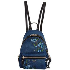 Guess Leeza Denim Backpack ($95) ❤ liked on Polyvore featuring bags, backpacks, backpack, denim, floral print backpack, top handle bags, embroidered bag, floral backpack and denim backpack