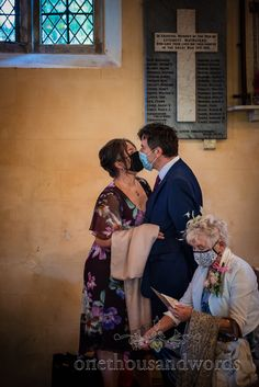 Wedding guests kiss through covid facemasks at covid safe church wedding ceremony in Dorset. Photo by one thousand words wedding photography. Church Wedding Ceremony, One Thousand, Documentary Wedding Photography, Wedding Humor, The Funny, Documentaries, Photographs, Kiss, Hilarious