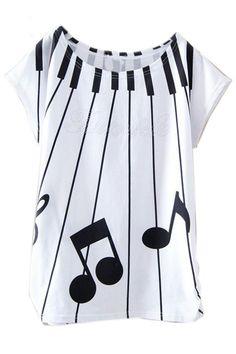 ROMWE | Piano Keys Music Notation Print White T-shirt, The Latest Street Fashion #ROMWEROCOCO