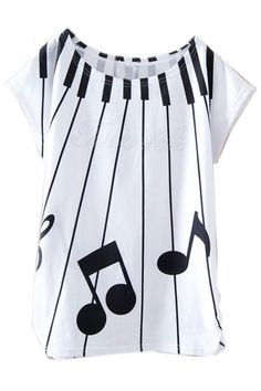ROMWE | Piano Keys Music Notation Print White T-shirt, The Latest Street Fashion #ROMWEROCOCO