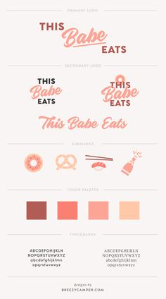 Design inspiration: See what the process was like designing a brand identity for food blogger and influencer This Babe Eats. Brand design by Franzine Mackley of Breezy Camper  pink, bold, color, fun logo & brand design