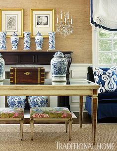 Megan Winters - Traditional HomeA perfect combination of traditional and modern with grasscloth walls, sisal rug, a grosgrain trimmed window treatment, Maison Jansen writing table and Jansen stools, a