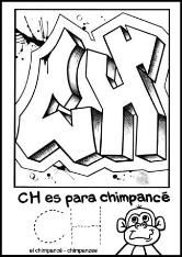 free gaffiti coloring page from spanish alphabet coloring  book