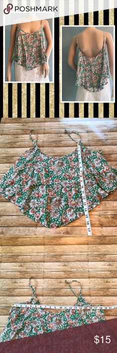 Floral spaghetti strap top lightweight Perfect for those sunny days.  Has a gorgeous flow to it and is lightweight. Size XL from Timing. 100% rayon timing Tops Tank Tops