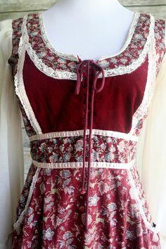 1970's Gunne Sax prairie hippie dress. Maroon deer